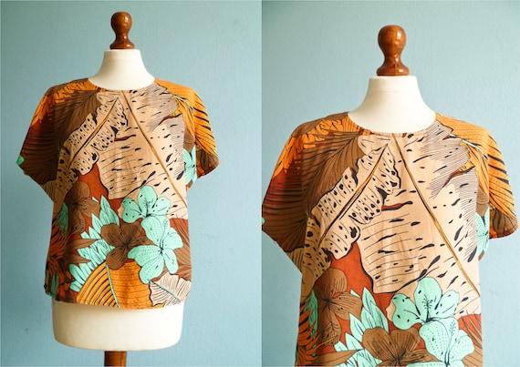 Vintage summer top blouse / floral print / brown orange green / slouchy top / medium large
