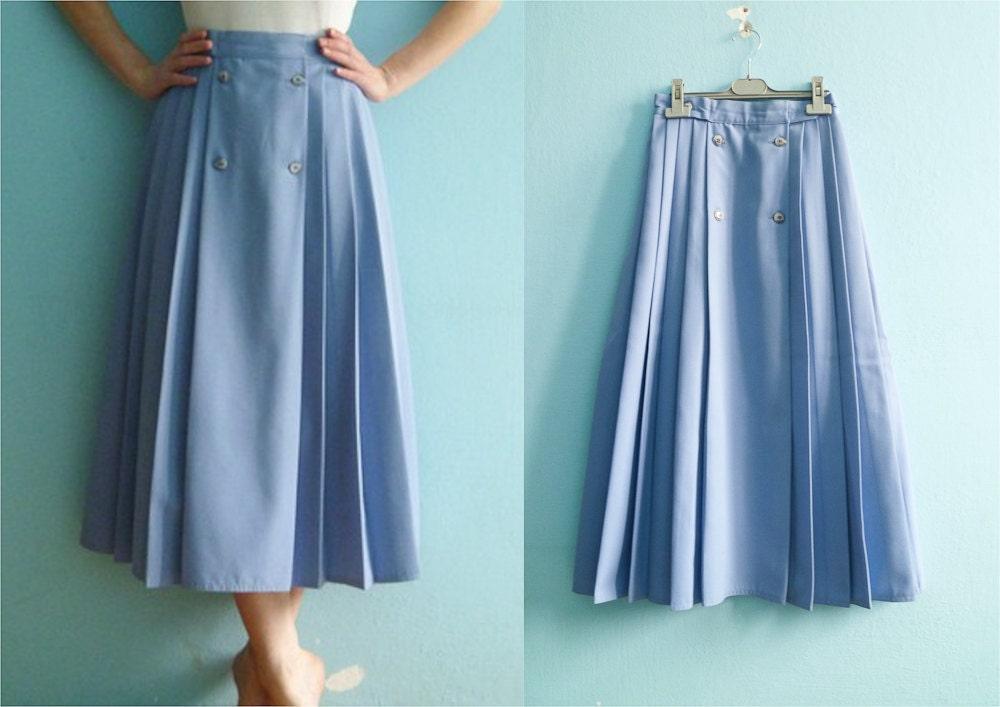 vintage pastel blue skirt pleated highwaisted by