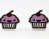 Earrings - Kawaii Pink Cupcakes