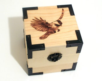 Woodburned Flying Chickadee Box
