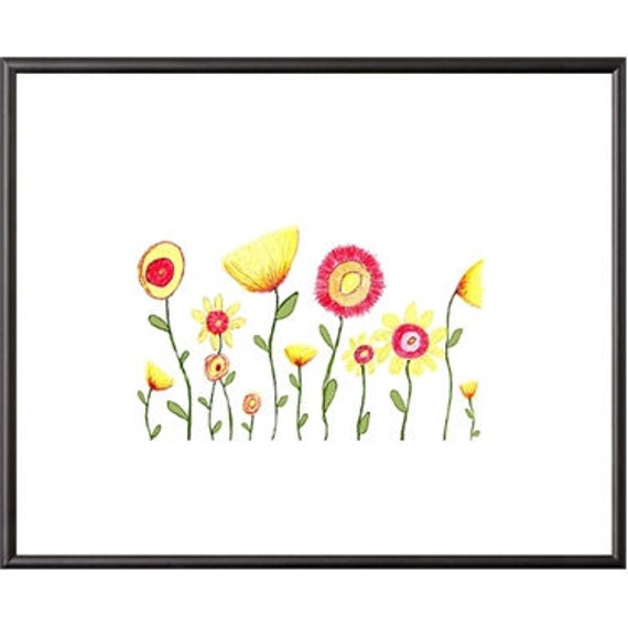 Flower Garden Print Illustration Wall Art Print