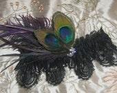 Black Lace Wedding Garter, Gothic Peacock Garter, Purple Feather Garter, Rhinestone Garter, Steampunk Vaudeville Glam Wedding Garter Belt