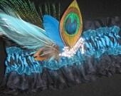 Wedding/Prom Garter, Blue Zebra Garter, Turquoise Garter, Peacock Feather Garter, Tulle Garter, Crystal Shoe Pendant for Bride or Prom