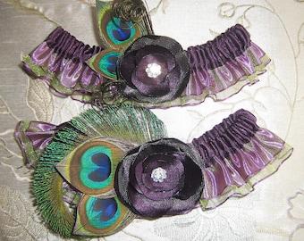 Bridal Wedding Garters, Purple Garters, Eggplant Purple Garters, Peacock Garters, Plum Purple Garters, Purple Roses, Green & Purple Weddings
