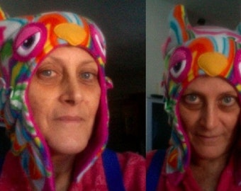 Earflap Hat Owl Fun Funky Fleece Embroidered Design Psychedelic Swirl Made to Order