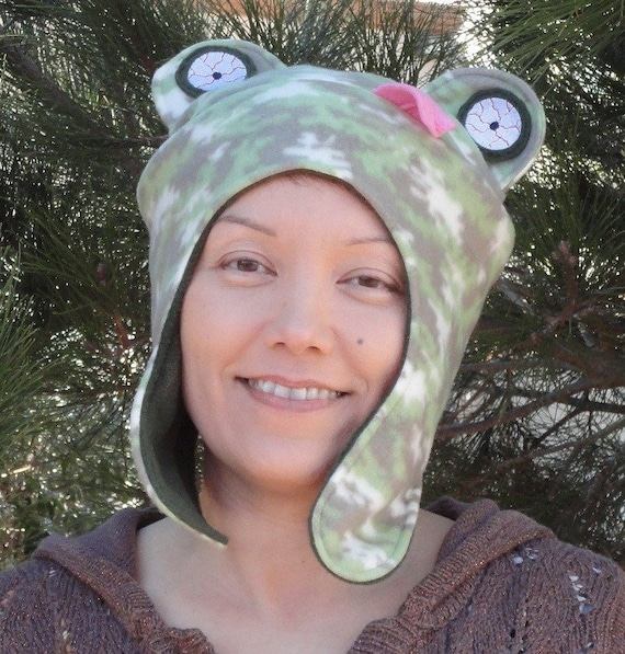 Earflap Hat Frog Fun Funky Fleece Embroidered Design Green Camo Made to Order