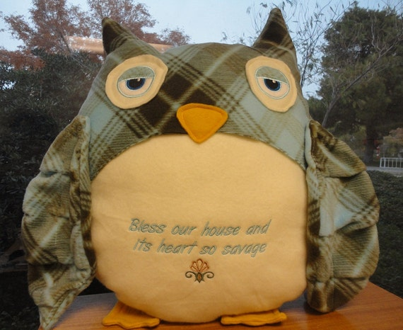 Custom Owl Pillow Choose Your Own Quote and Fabric