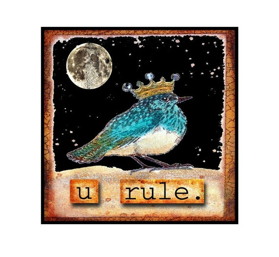 Mixed Media, Collage, Birds, SET OF 4,Starry Night,Crown, Blue Bird, Sepia, Brown, Black, Note Card, Card