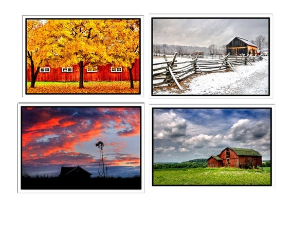 20% Off, Barns-SET OF 8 -Farm,Rustic,Weathered Wood, Country, Red, Sky Blue, Blank Inside Greeting Cards Set  - Number One