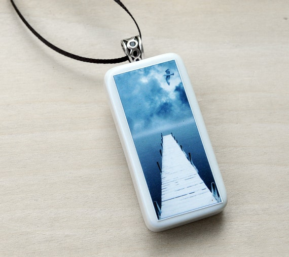 pendant, bird, winter, snow, ice ,photo jewelry, vintage domino, ice blue ,mist, fog, seagull, white