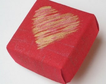 Red Origami Cloth Heart Box