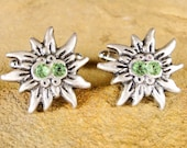 Edelweiss Cufflinks with Swarovski Crystals handcrafted by AustrianDesigns