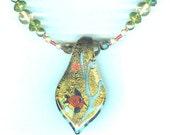 Lampwork Glass Pendant Necklace Lucky Goldfish