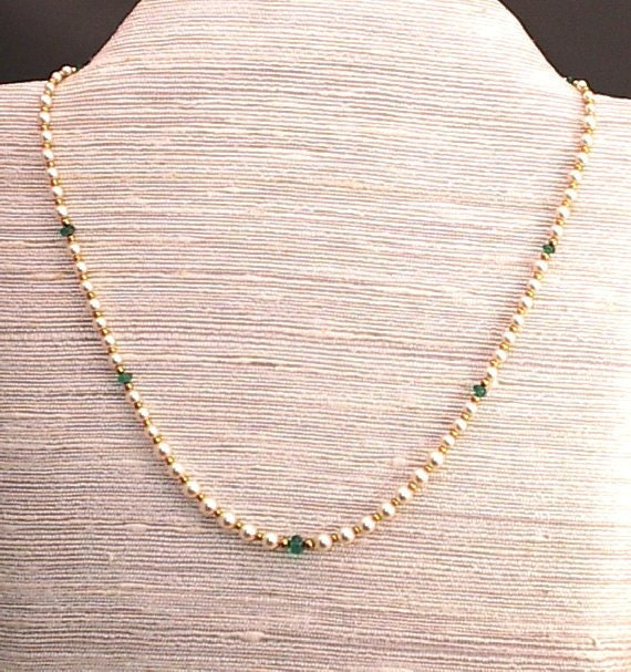 Bead Necklace Emeralds, Crystal Pearls May Stone