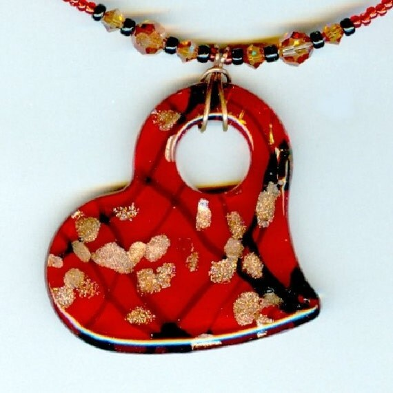 Glass Pendant Necklace Dichroic Red Heart