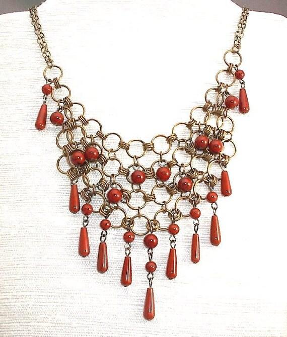 Fashion Necklace Chain Maille Red Jasper OOAK
