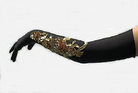 Black Gloves Long Prom Gloves Gold Sequins Beads Embroidered Applique Artisan Crafted OOAK