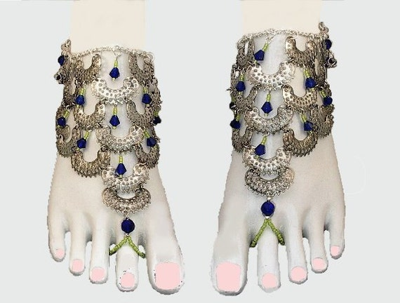 India Wedding Barefoot Sandals, Slave Anklet, Foot Jewelry Cobalt Blue Peridot Green