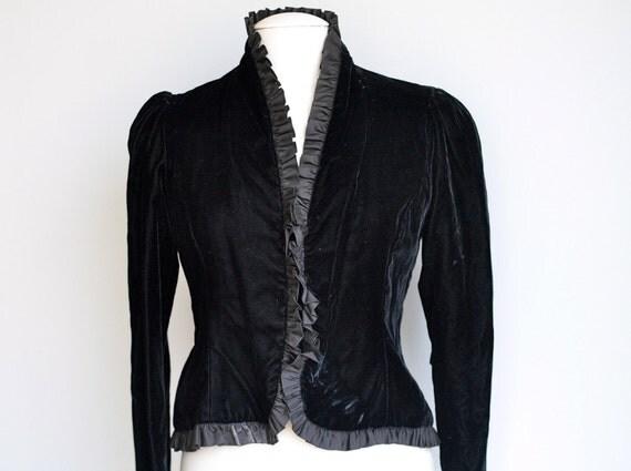 Black Velvet Edwardian Style Ruffle Blazer