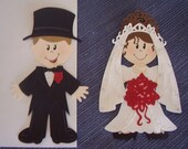 Bride - Groom Die Cut - 16 Gems, Glitter, Scrapbooking, Cardmaking, Altered Art