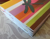 Striped Cardstock Match Book Notepads, Green Dragonfly, blank paper