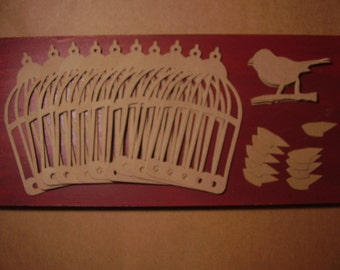 Die Cut Bird Cage, Bird, 10 of each, Kraft Cardstock, scrapbooking, altered art, embellishment, card making