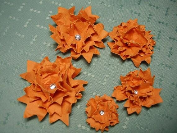 Orange Shabby Chic Cardstock Flowers, Glittered, Gem Centre, Scrapbooking, Altered Art, Cards, Embellishment