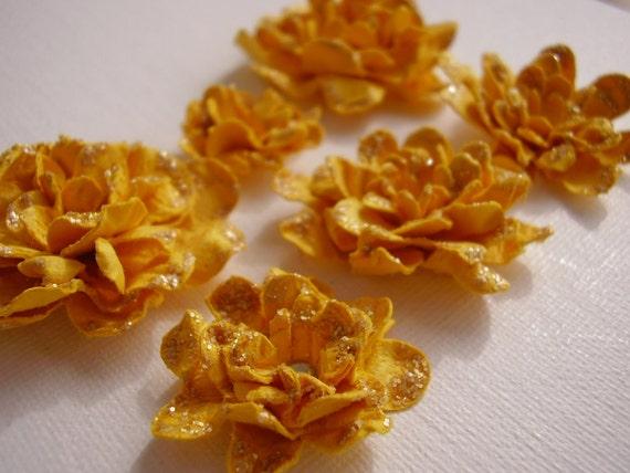 6 Deep Yellow  Vintage Roses, Scrapbooking, Cardmaking, Embellishment, Altered Art