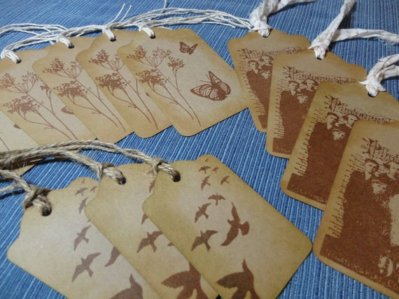 Vintage Photo, Butterfly, Birds Kraft Cardstock Gift Tags, Journalling Tag, Baskets, Tie around a Wine Bottle