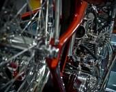 Chrome Chopper - 11 x 14 matte photograph color print of a custom motorcycle engine