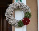 Wreath Home Decor Christmas Red and Green Felt with Flowers Door Hanging