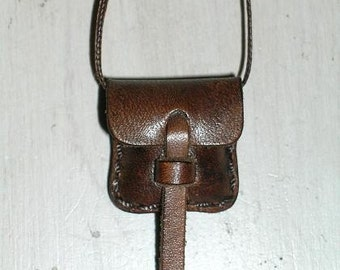 Small Leather Locket  Pouch Bag Java Brown