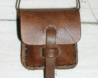 Medium Leather Locket Pouch Bag Java Brown