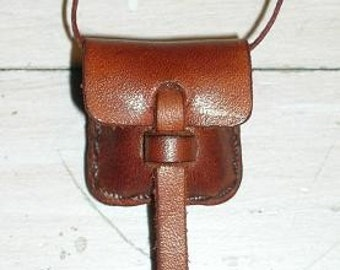 Small Leather Locket Pouch Bag Canyon Tan