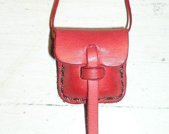 Small Leather Locket Pouch Bag Scarlet Red
