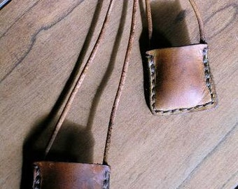 Large Leather Locket Open Pouch Bag Design Canyon Tan