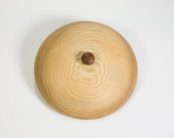 Lidded wooden bowl made of ash and jatoba