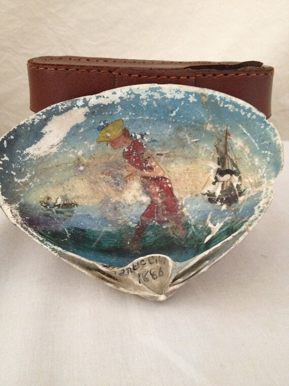 Antique nautical painted sea shell 1886