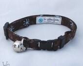 Cat Collar - Brown & Blue Retro