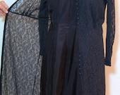 Lace Coat Dress and Navy Silk Taffeta Slip from 1920s