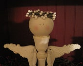 Wooden candlestick angel