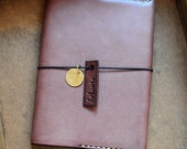 Hand Stitched Dark Brown Leather Schedule/ Book Cover