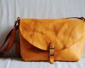 Hand Stitched Washed-Out Leather Shoulder Bag/ Carry On Bag