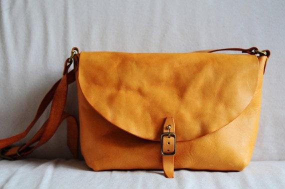 Hand Stitched Washed-Out Light Brown Leather Shoulder Bag/ Carry On Bag