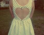 Polka Dot Heart Shaped Open Back Dress