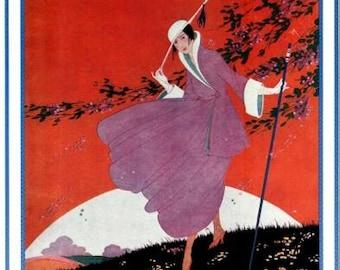 Vintage Vogue Magazine Cover Poster- March 1, 1916 - Spring Pattern Number- Helen Dryden illustration