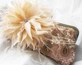 Peach melon Sequin Feather accent Wedding Bridal Bag Clutch Formal Wear