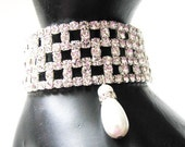 Clear Rhinestone and Faux Pearl Stretch Bracelet  makes Great Bride Maids Accessory Jewelry