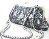 Grey Sequin Swarovski Pearls and Crystal accent Wedding Bag Clutch Formal Wear