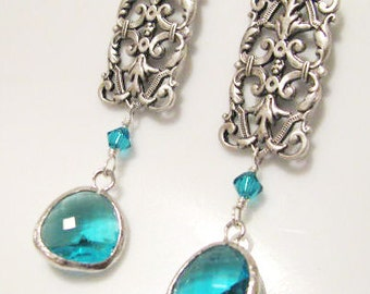 Silver plated Filigree with Faceted Glass Gem and Swarovski Earring Drops